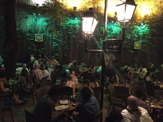 Montreal, Canada: Garden seating and light show at Pub Ste-Elizabeth