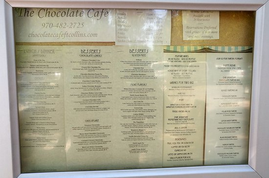 The Chocolate Cafe Fort Collins Menu