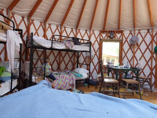 Snow Mountain Ranch: This is a yurt: double bed in foreground, bunk beds in background: note extra blanket from Walma