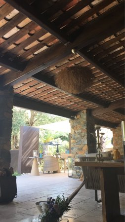 La Dimora: General views, the pool, breakfast area, restaurant and some of thefood available