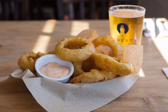 Kittery, ME:  Onion rings and a fresh beer - a great combo