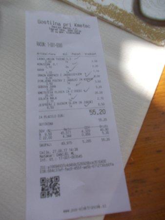 Gostilna Pri Kmetec : Il conto