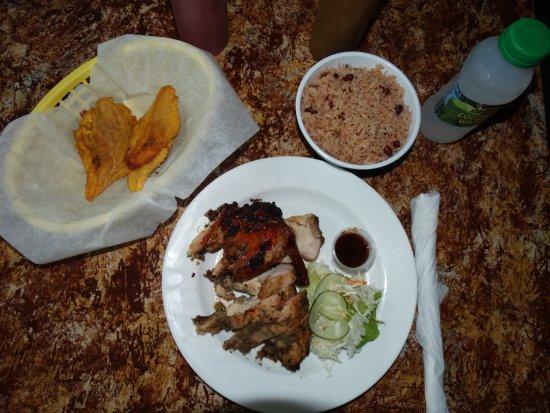 Ocho Rios Village Jerk Center : Jerk Chicken, Rice & Peas, Plantains