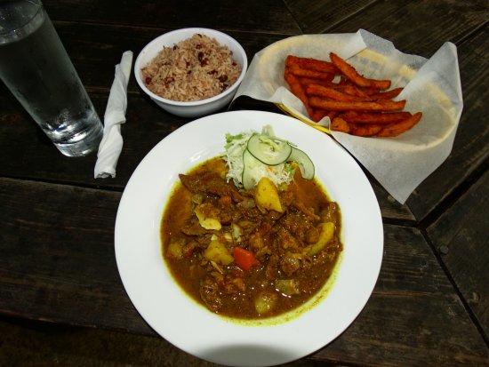 Ocho Rios Village Jerk Center : Curried Goat, Rice & Peas, Sweet Potato Fries
