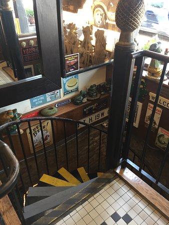Northfield, MN: Spiral staircase inside building that goes down to bar