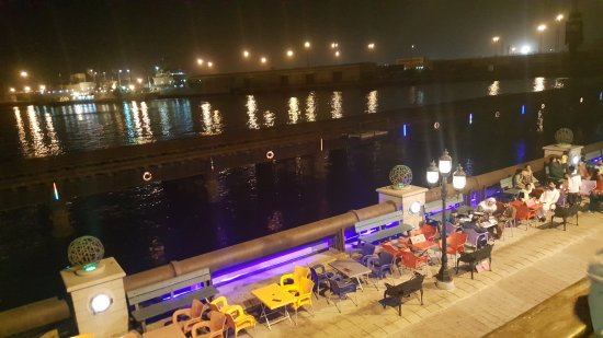 Port Grand: An 'aerial' view of the jetty and surroundings from the balcony of Afridi Inn Restaurant.