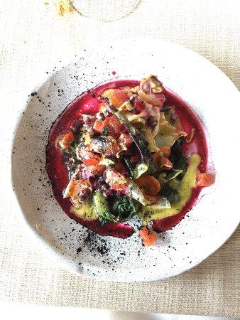 San Michele Al Tagliamento, Italie : Calamaro alla piastra con verdurine di stagione e lime