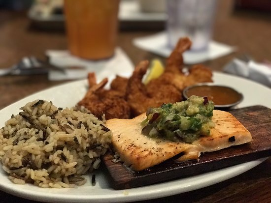 DeForest, WI: Lunch Combo with cedar planked salmon, coconut shrimp with apricot sauce and wild rice side.