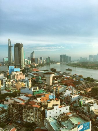 Great view of Mekong River and city skyline!