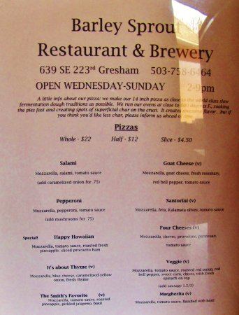 Gresham, OR: menu at the ording desk