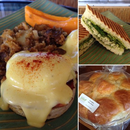 Short & Sweet Bakery & Cafe: Eggs Benedict, Herb Roasted Chicken Panini Sandwich, Portuguese Sweet Bread
