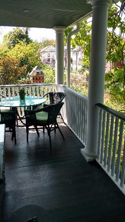 Porches on the Towpath: The upper level porch overlooking the Delaware Canal