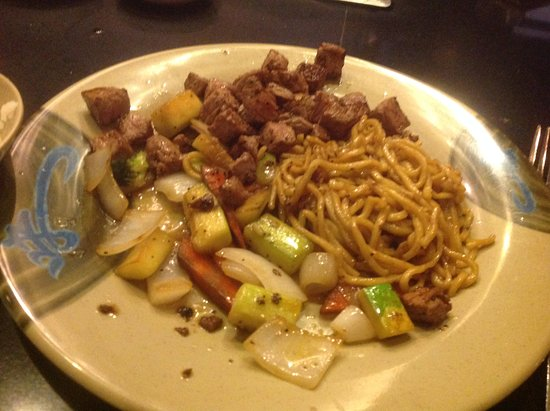 Osaka Sushi and Hibachi: Vegetables, noodles, and steak (8/2017)