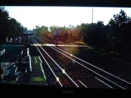 Depot Inn & Suites: This is the view of the real train action on the room TV. It is great!!