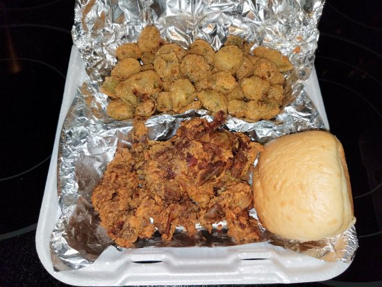 Oliver Springs, TN: Fried chicken livers and double order of fried okra & roll