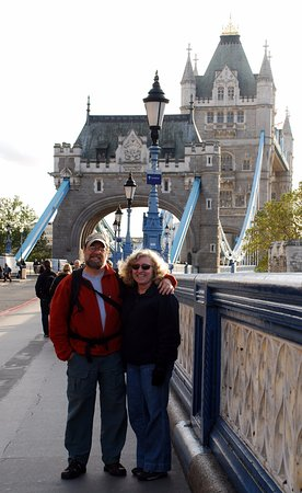 Mansfield Center, CT: Bette and Paul on the Tower Bridge in London, UK