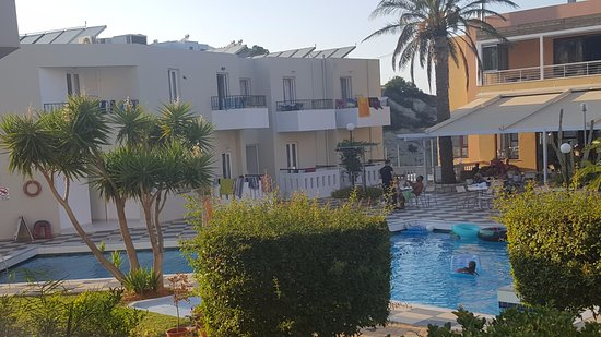 view from room 110 of the pool and bar area