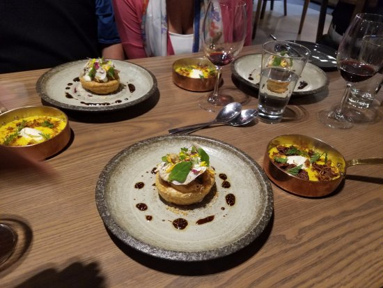 Constantia, South Africa: A few of the dishes, including Risotto with Brisket