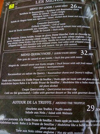 Auberge de L'Ile: Le fameux menu !