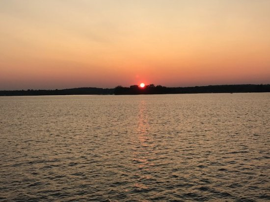 Breezy Point, MN: sunset on Pelican Lake from Breezy Belle