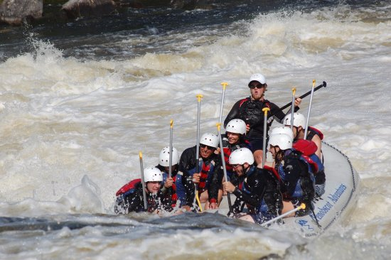 Penobscot Adventures Whitewater Rafting: Surfing up river against the falls