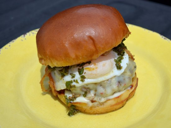 Medley, FL: Chimi Burger - Half a Pound of Beef, Chimichurri, Pepper Jack Cheese, Fried Egg, Flash Fried Oni
