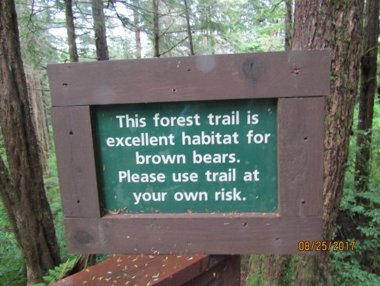 Alaska Raptor Center: The sign to the trail