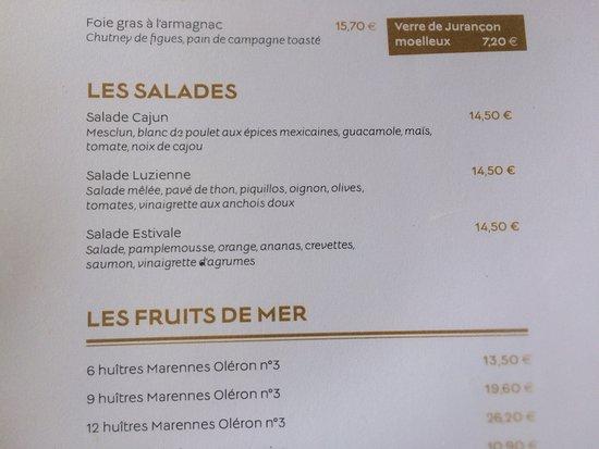 Cafe de la Grande Plage: La carte