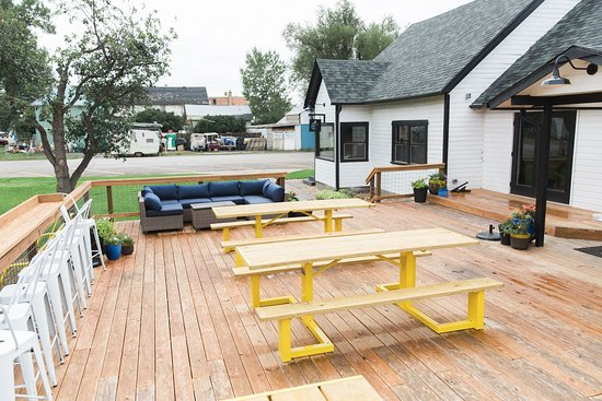 Saratoga, WY: Large patio space set next to the river