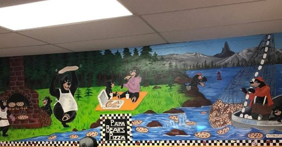 The awesome mural in Papa Bear's Pizza, Petersburg, AK