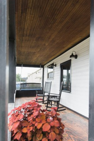 Saratoga, WY: Front porch perfect for rocking and sipping