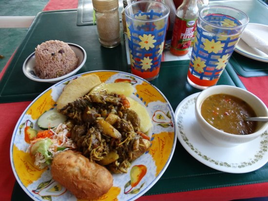 Sips & Bites: Curried Chicken, Veggie Soup, Rice & Beans, Fried Bread Fruit & Baked Yams