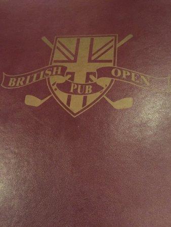 British Open Pub : menu cover