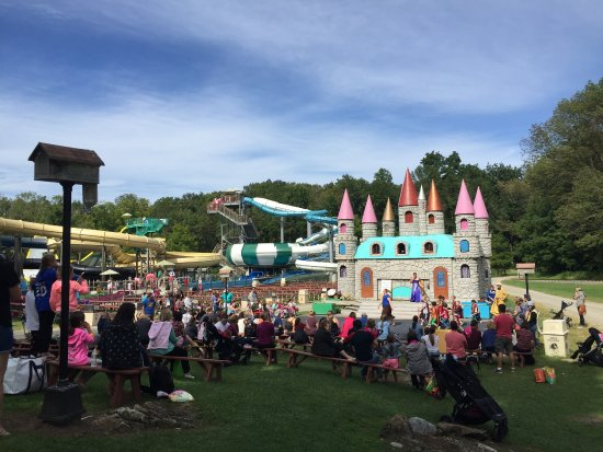 Land of Make Believe & Pirate's Cove: A view of the Middle Earth castle/stage with part of the water park in the background.