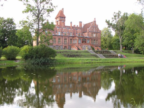 Tukums, Latvia: Jaunmoku castle from the other side of the lake
