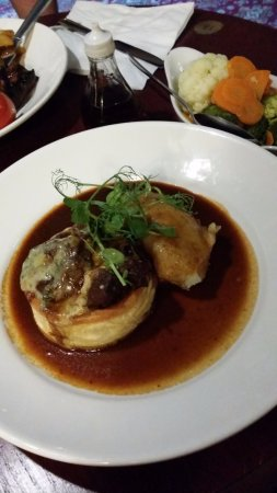 Smugglers' Den Inn: Steak, smoked bacon and blue cheese pie with creamy mash and seasonal vegetables.