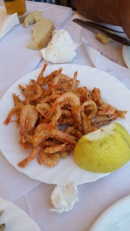 Trizonia, Greece: Γαρίδα τηγανιτή.