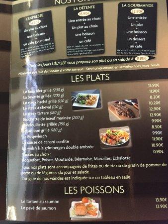 Flers-en-Escrebieux, Frankrig: Carte menu