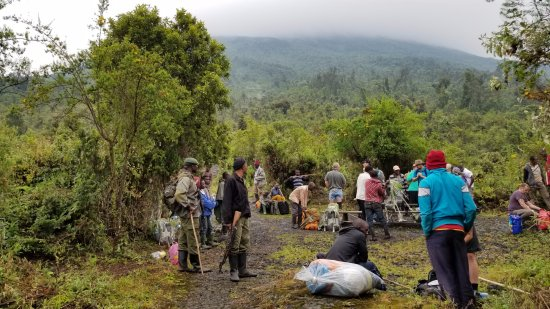 Mount Nyiragongo: stops during the hike allowed for snacks, rest, and clothing changes
