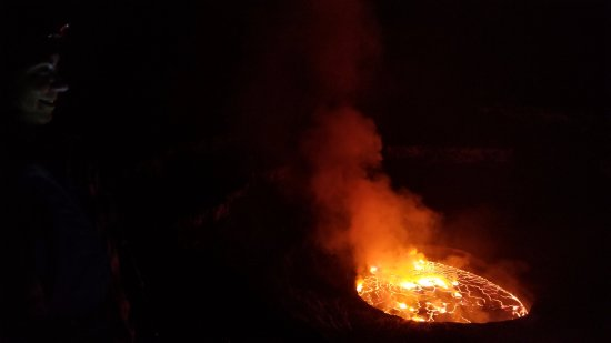 Mount Nyiragongo: lava lake most spectacular at night.  hard to get a sense of scale.
