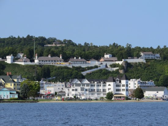 Hotel Iroquois with Fort Mackinac above it!
