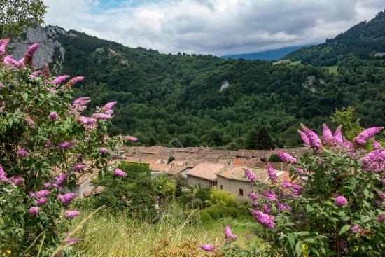 Montsegur, Frankrike: Widok na miasteczko