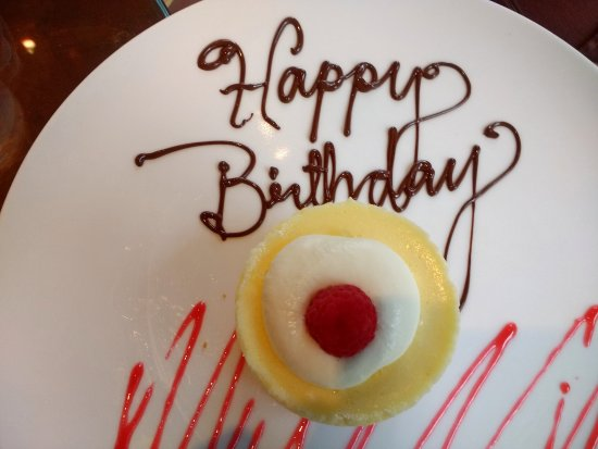 Orange, VA: A birthday greeting on the dessert plate - very thoughtful