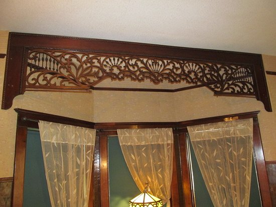 Hillsboro, KS: Hand-carved valance in the Schaefflers' sitting room.