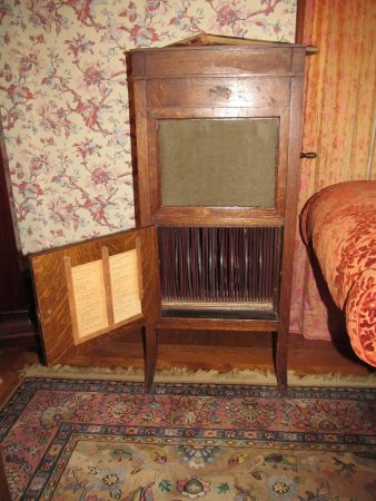 Hillsboro, KS: Edison phongraph with Diamond Disc records from the 1910s in the Schaeffler house.