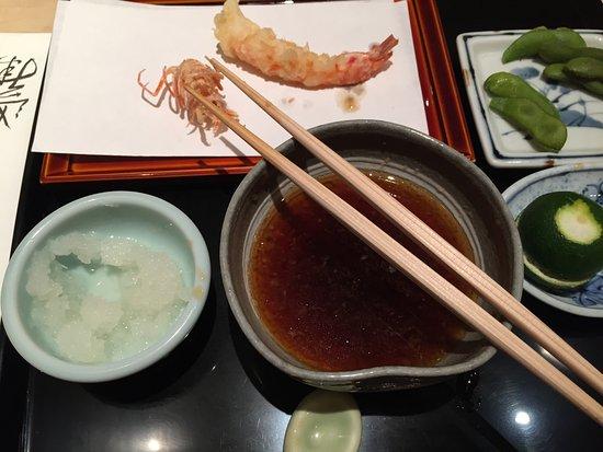 Tempura Kondo: Meals begin with various tempura . . .