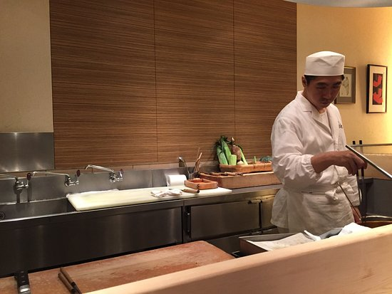 Tempura Kondo: Only bar-sitting, right in front of food prep, is available.