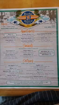Redington Shores, FL: Front of the Menu
