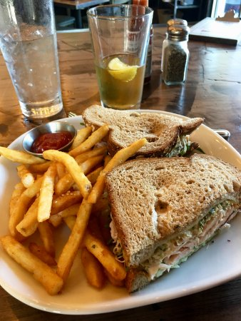 Eagle, CO: Turkey club (thin sliced) sandwich with fries, all excellent and fresh