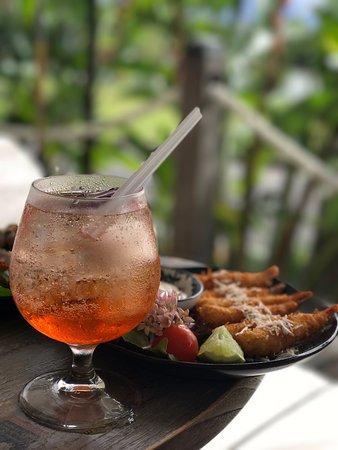 Aperol with fried prawns
